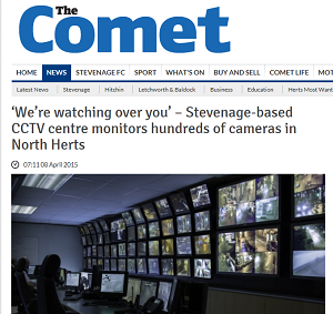 Hertfordshire CCTV Partnership's CCTV Control room featured in the Comet