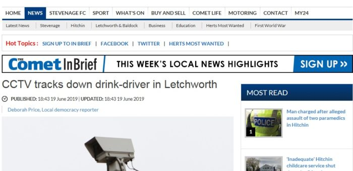 Hertfordshire CCTV Partnership Highlighted in local news